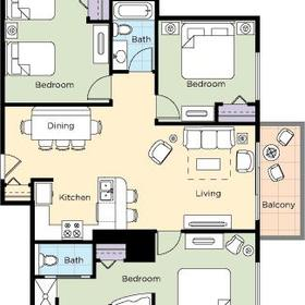 Wyndham Vacation Resorts at National Harbor — 3BR Deluxe Floor Plan