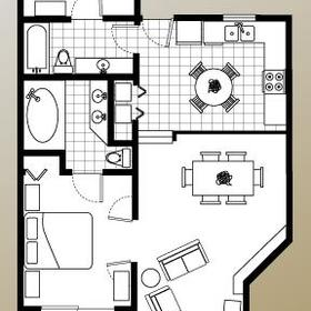 Bryan's Spanish Cove - Two Bedroom Floor Plan