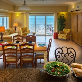 Escapes! to the Shores Living and Dining Area