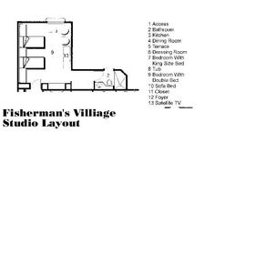 Sunset Fishermen Spa & Resort - Studio Floor Plan