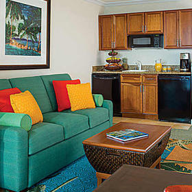 Marriott's Maui Ocean Club Living Area and Kitchenette