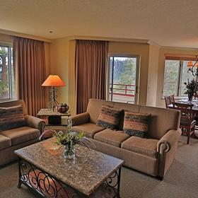 The Ridge Tahoe — Living Room, Dining, Wet Bar, and Kitchen
