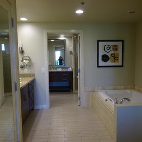 Separate bathtub and shower areas and separate vanities in master bathroom