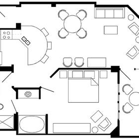 Sample one-bedroom villa floor plan