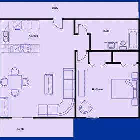 Tanglwood Resort - One Bedroom Floor Plan