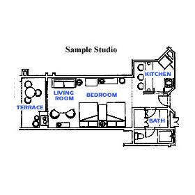 Marina Fiesta Resort - Studio Unit Floor Plan