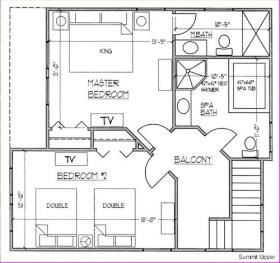Ridge Top Village and Ridge Top Summit at Shawnee Resort - Upstairs Floor Plan