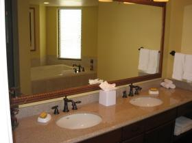 Dual sinks and bath through mirror