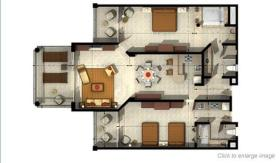 Two-bedroom unit layout