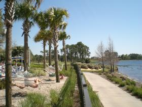Pool and walkway by the 80 acre lake