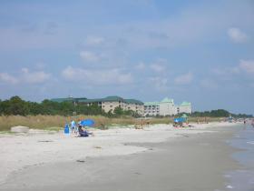 View of the resort from the beach
