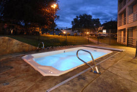 Outdoor hot tub at night
