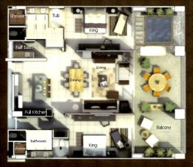 Two-bedroom unit floorplan