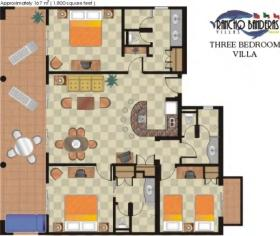 Three Bedroom Villa Floor Plan at Rancho Banderas Vacation Villas