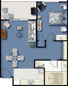 Riviera Beach and Spa Resort I & II - One Bedroom Floor Plan
