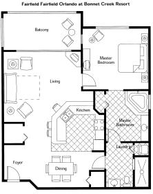Wyndham Bonnet Creek Resort  - One Bedroom Floor Plan