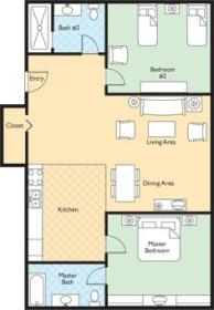 Two-bedroom unit sample floorplan