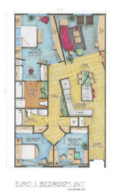 Midtown Village - Euro Three Bedroom Floor Plan