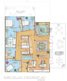 Midtown Village - Euro Deluxe Three Bedroom Floor Plan