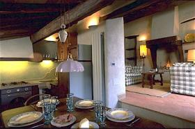 Unit kitchen and living room at Borgo di Vagli