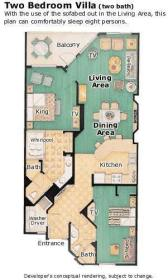 2-bedroom room layout at Marriott's Grande Ocean