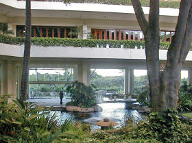 Tropical Lobby with Koi Ponds